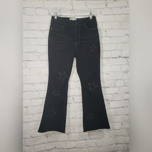 Wild Pearl Distressed Embroidered Star Flare Jeans